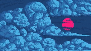 Pixel Art Sky Clouds Digital Art Artwork Night Moon Red Moon Blue Pixels 3000x2000 Wallpaper