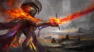 Warrior Sword Flame 1920x1080 wallpaper