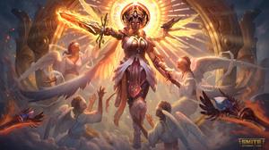 Smite Watermarked Yemoja Smite Sword Angel Wings Crown Mythology Caravan Studio 3840x2160 Wallpaper
