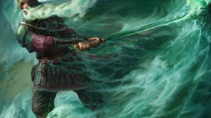 Beard God Man Sword Warrior Wave 3500x2627 Wallpaper