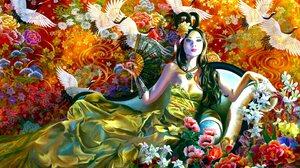 Fan Dress Oriental Colorful Artistic Asian 2880x1800 Wallpaper