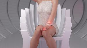 Verica Hupe White Dress Open Mouth Blonde Hand On Neck Women Digital Painting Sitting Digital Art Kn 1920x2400 Wallpaper
