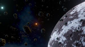 Asteroid Dwarf Planet Stars Space Clouds Planet Suns Binary Starsystem Blender 3D Graphics Digital A 2371x1080 Wallpaper