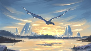 Artwork Digital Art Dragon Sea Sky Sunset Lights Bright Lake Drawing Flying 4000x3200 Wallpaper