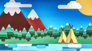 Camp Kurzgesagt In A Nutshell Mountains Vector Digital Clouds Sun Hut Trees Water 2650x1600 Wallpaper