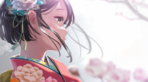 Anime Anime Girls Brunette Short Hair Looking Away Flower In Hair Sakura Tree Brown Eyes Kimono Mina 2447x1654 wallpaper