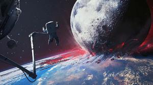 Space Battle Astronaut Space Disaster Moon Ruin 1920x1080 Wallpaper