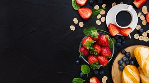 Berry Blueberry Breakfast Coffee Cup Fruit Still Life Strawberry 5258x2958 Wallpaper
