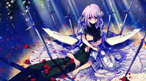Black Hair Flower Long Hair Purple Eyes Purple Hair Short Hair Sword Wings 3566x2592 Wallpaper