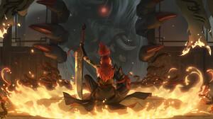 Hou China Drawing Warrior Weapon Creature Redhead Fire Centipede Fantasy Art 1920x960 Wallpaper