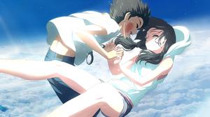 Tenki No Ko Hodaka Morishima Hina Amano Anime Falling Clouds Fan Art Tears Holding Hands Legs Dark H 3344x2087 Wallpaper