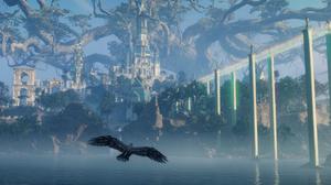 Assassins Creed Valhalla Landscape Mountains Trees Blue Raven Green Asgard 2551x1258 Wallpaper
