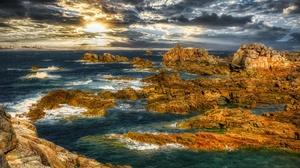 Sea Rock Stone Shore Cloud 3264x2448 Wallpaper