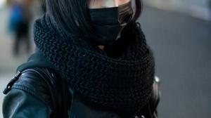 Women Asian Dark Hair Black Clothing Urban Mask Scarf Leather Jackets Depth Of Field Japanese Short  852x1280 Wallpaper