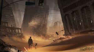 Desert Post Apocalypse Destruction Dog 1920x1065 Wallpaper