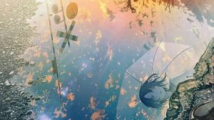 Girl Puddle Shoe Sky Sunset 3700x2900 Wallpaper