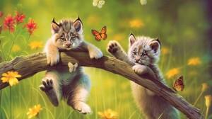 Artistic Baby Animal Butterfly Cat Cub Cute Lynx Meadow 1920x1200 Wallpaper