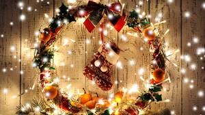 Apricot Christmas Holiday Light Stocking Wreath 5631x3754 Wallpaper