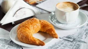 Coffee Croissant Cup Still Life Viennoiserie 3600x2400 Wallpaper