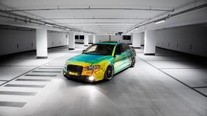 Audi A4 Tuning Chrome Monochrome Car Airride Stance Parking Vehicle Parking Lot 5472x3648 wallpaper