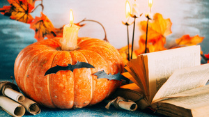 Pumpkin Book Candle 2450x1635 Wallpaper