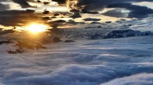 Aerial Austria Cloud Evening Mountain Sunset 5472x3080 Wallpaper