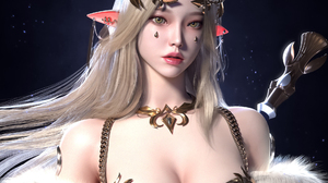 Jaesoub Lee CGi Women Elves Blonde Crown Glamour Pointy Ears Dress Looking At Viewer White Clothing  1920x1833 Wallpaper