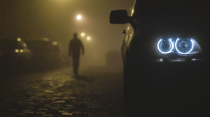 Car LED Headlight Night BMW Dark Street City Men Mist Blue 2500x1668 Wallpaper