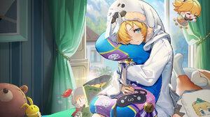 Anime Anime Girls Guardian Tales Future Princess Guardian Tales Blonde Blue Eyes Pillow Hug 1728x1080 Wallpaper