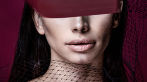 Arlamovsky Red Background Women Women Indoors Retouching Poster Text Hair Eyes Tape Photoshop Lips 1333x2000 Wallpaper