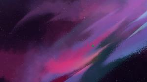Purple Background Aurora Sky 1920x1080 Wallpaper