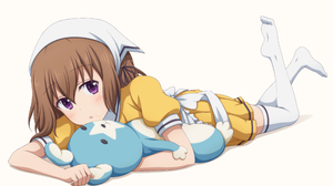 Anime Blend S Blush Brown Hair Girl Lying Down Mafuyu Hoshikawa Maid Purple Eyes Short Hair Thigh Hi 3462x2048 Wallpaper