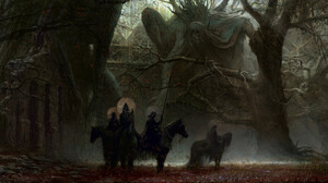 Artem Demura Dark Digital Art Fantasy Art Horse Four Horsemen Of The Apocalypse Trees Forest Ruins S 1920x811 Wallpaper