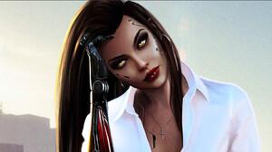 Cyberpunk Women Face Sword Katana City Sitting High Heels Brunette Long Hair White Blouse White Shir 3197x1537 Wallpaper