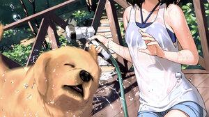 Kantoku Shizuku Kantoku Anime Anime Girls Dog Dark Hair Short Hair Side Ponytail Bangs White Tank To 6039x8586 Wallpaper