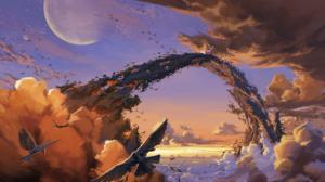 Birds Sky Moon Clouds Bridge 1920x1145 Wallpaper