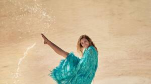 Miley Cyrus Blonde Dress Blue Dress Water Desert Dancer Women Singer 1080x1350 Wallpaper