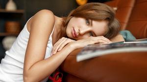 Ivan Kovalyov Yulia Kirova Model Women Brunette Braids Blue Eyes Mouth Lips Tank Top White Tank Top  2000x1333 Wallpaper