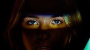 Women Blonde Eyes Dark Background 5470x5470 Wallpaper
