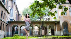 Asian Model Women Long Hair Dark Hair Trees Depth Of Field Branch Leaves Grass Building Skirt Pullov 3840x2560 Wallpaper
