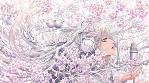 Anime Anime Girls Birds Headphones Microphone Long Hair Flowers Sakura Tree Bones Plants Audio Techn 2200x1338 Wallpaper