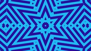 Abstract Blue Digital Art Geometry Kaleidoscope Shapes Star 1920x1080 Wallpaper