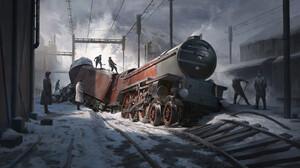 Rob Green ArtStation Derailed Vehicle Train Vehicle Locomotive 3840x2055 Wallpaper