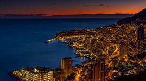 Building City Coastline Horizon Monaco Night Skyscraper 2700x1800 wallpaper