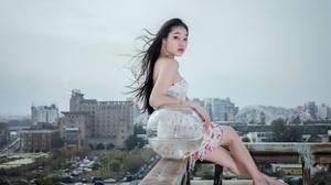Asian Women Rooftopping Looking At Viewer Long Hair Dark Hair Makeup Pink Lipstick Cityscape Sitting 2045x1365 Wallpaper