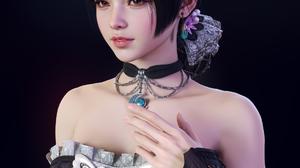 Sunghyun Yun CGi Women Dark Hair Brown Eyes Choker Dress Black Clothing Butterfly Simple Background  1920x2400 Wallpaper
