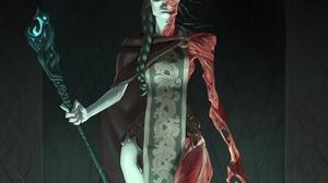 Braid Creepy Girl Staff Witch Woman 1920x1370 Wallpaper