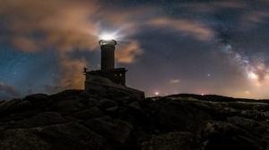 Lighthouse Night Starry Sky 4000x1784 Wallpaper