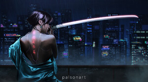 Woman Warrior Night City 1920x1111 Wallpaper