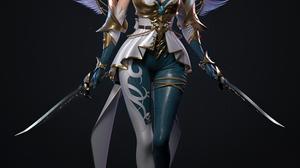 Cifangyi CGi Women Blue Hair Warrior Armor Wings Sword Weapon Simple Background Long Hair Turquise H 3840x4565 Wallpaper